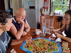 Playing Catan on one of the few rainy afternoons we had in Taveuni