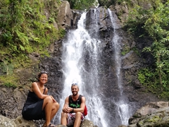 Posing in front of the second waterfall at Tavoro