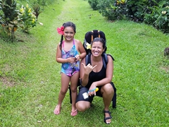 Bula from Taveuni! Gracie and Becky have big smiles after our trip to Tavoro Waterfall