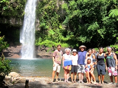 Family photo at the Tavoro Waterfall