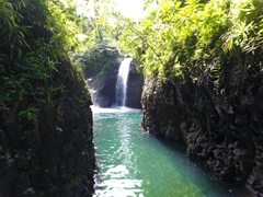 We had to swim about 200 meters through this passage to reach the waterfall