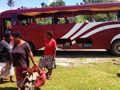Disembarking our bus at Lavena
