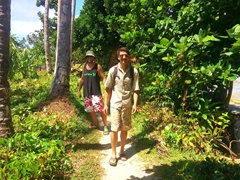 "Luke and Robby enjoying our 5 km stroll on the famous ""Lavena Coastal Walk"" - one of Taveuni's must do activities"