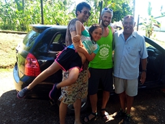 Posing with Harry, our awesome Taveuni taxi driver!