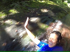 Laughing the entire way down the Waitavala Waterslide!