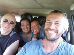 Crammed into our tiny Suzuki Jimny
