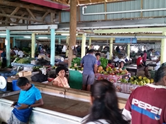 Interior of Savusavu's market - Saturday morning has the biggest selection