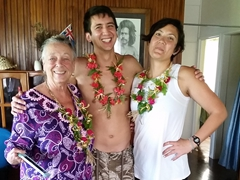 Welcome leis for Aunt Nancy, Luke and Frances; Siga Siga Sands