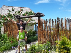 Luke and Robby cheering after checking out one of the waterfront bures at Koro Sun Resort