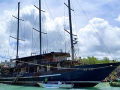 Boat being renovated into accommodations at Savasi Island Resort