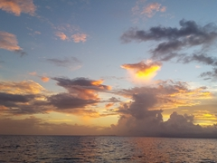 Sunset at sea - we had zero luck fishing but Richard was 4 for 4, hooking a fish the instant his line hit the water!