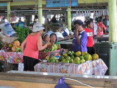 Ann shopping for produce at the main market in Savusavu