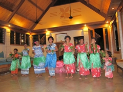 The women only portion of the meke (traditional Fijian dance)