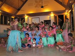 Meke time (combination of dance and story telling) at Koro Sun Resort