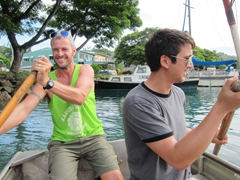 Robby and Luke rowing us out to the fishing boat, Savusavu Harbor