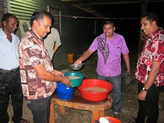 No festival is complete without kava - here the guys mix up a grog of kava for everyone to enjoy