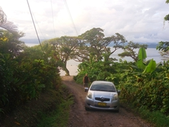 Bottoming out in our lowrider rental car; Savusavu