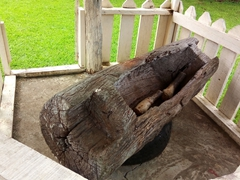 Vuadomo village's lali drum (a wooden slit gong used to beckon the villagers to church on Sunday)