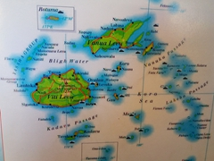 Map of Fiji's various islands which are linked by pricey flights or budget ferries