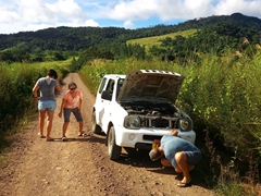 Alas our Suzuki Jimny was not built for off roading! The gear box shattered on this dirt road in the remote mountainside