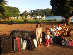 We travel light! Waiting for the bus to take us to Buca Bay as we get ready to leave Vanua Levu and hop over to Taveuni Island (Lea arrives early to bid us farewell)