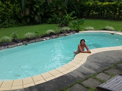 Enjoying the swimming pool at Pacific Harbour