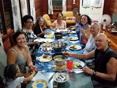 Final dinner in Fiji with old friends and new (Emma, Frannie, Cakau, Stella, Ann, Becky, Talei, Nancy and Bob)