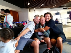 Hugging Aunt Nancy goodbye at the airport as our 6 week adventure in Fiji draws to a close