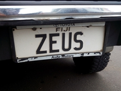 Zeus license plate