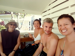 Smiling before our SCUBA dive with bull sharks; Beqa Adventure Divers