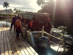 Boarding the Predator for our shark dive, one of the best in the world!