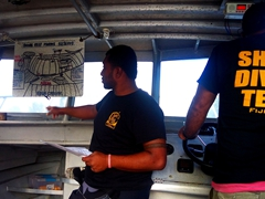 Receiving our shark dive briefing on board the Predator; Beqa Lagoon