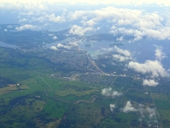 Flying over Port Vila on the island of Efate