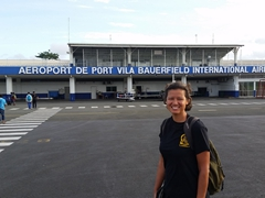 Becky smiles upon arrival to Vanuatu