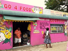 Colorful food shack; Port Vila
