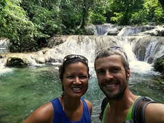 9 am and we have the entire waterfall complex to ourselves; Mele Cascades