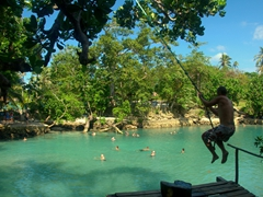 Robby swings into the Blue Lagoon