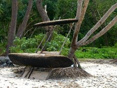 Outrigger canoe propped up against a tree