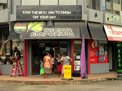 "Kava shop with the logo ""the best way to finish off your day""; Port Vila"