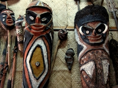 Traditional masks from the outer islands; Port Vila handicraft market