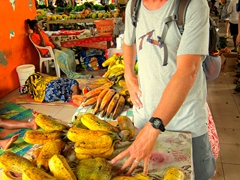 Robby demonstrates that the plantains are as big as his hand; Port Vila market
