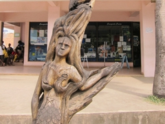 Mermaid carving on a totem pole; Port Vila