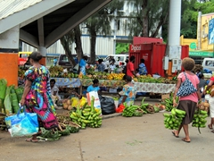 Shoppers have a vast selection of fruits and vegetables to choose from; Port Vila market