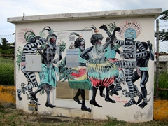 Tribal mural; Port Vila
