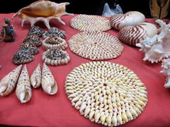 Shell ornaments for sale; Port Vila handicraft market