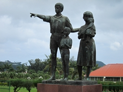 Family sculpture at the entrance to Vanuatu's Parliament building; Port Vila