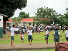 School kids play during recess; Port Vila
