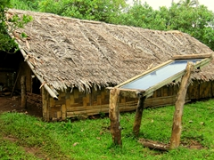 This ingenious villager has a solar panel for his power needs