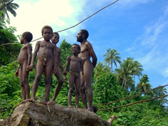 Boys eagerly anticipating the land diving ceremony. Any circumcised boy (aged 8 or older) is allowed to participate in the land diving