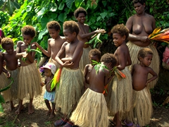 The girls and women of the tribe wear grass skirts made from wild hibiscus